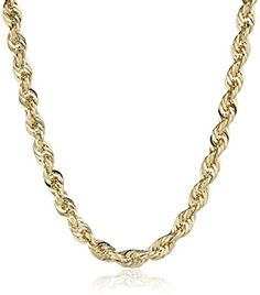 """Duragold Men's 14k Yellow Gold Hollow Diamond-Cut Rope Chain Necklace (2.5mm), 20"""" Amazon Curated Collection http://www.amazon.com/dp/B003UHUOX8/ref=cm_sw_r_pi_dp_OMmxub02BKM45"""