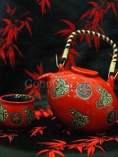 Chinese Red Fu Tea Set