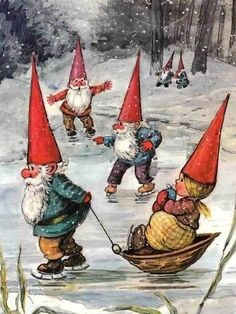Gnome lady on a sled Woodland Creatures, Magical Creatures, Fantasy Creatures, Vintage Christmas Cards, Vintage Cards, Gnome Pictures, David The Gnome, Kobold, Fairytale Art