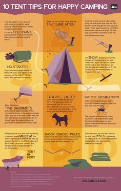 Have you ever woken up to a soggy tent or struggled with stubborn stakes? Read our infographic and learn 10 tent tips for happy camping!