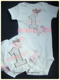 1ST BIRTHDAY Bodysuit and Bloomer Set - Chevron Gray and Light Pink on Etsy, $32.95