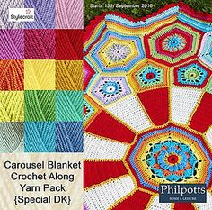 "Carousel Blanket CAL (Crochet ALong) 2016 (Sept. 13 - Nov. 15) - Created By Sue Pinner - Free Crochet Pattern - In US & UK Terms, and also in German and Dutch. May use the Designer's colors or your own. ***Make sure to join the Facebook Group ""Official Stylecraft Sue Pinner CAL"" (link on the Ravelry page also) for help, ideas, support, so much more!! ... it's a great Group with wonderful people!!!"