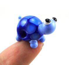 Blue Turtle Lampwork Glass Bead Figurine by MercuryGlass - so cute!