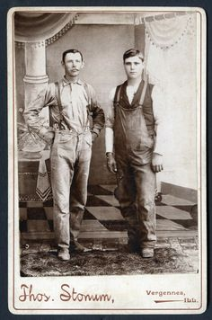late 1800s CDV showing two workers jeans and overalls.