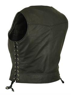 Womens Black Lightweight Lambskin Leather Biker Vest w Side Lace