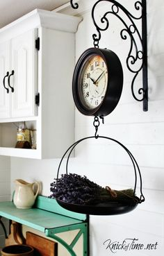 Vintage Hanging Scale ClockFarmhouse Kitchen Decor - KnickofTime.net