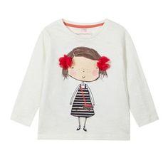 bluezoo Girl's cream girl print t-shirt- at Debenhams.com
