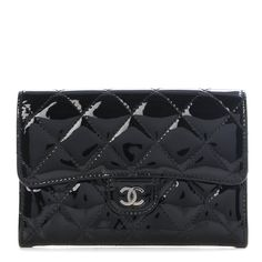 ec13e42d0de9 CHANEL Patent Quilted Small Flap Wallet Black 297010 Chanel Boy Bag, Chanel  Wallet, Prada