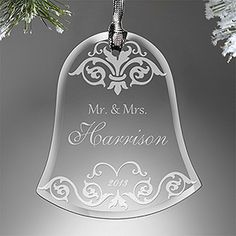 "This is STUNNING! What a great wedding gift idea! It's the ""Wedding Bell"" Engraved Ornament that you can personalize with the couple's names and wedding year. I'm getting one of these for all my friends! #Wedding #Christmas #Ornament"