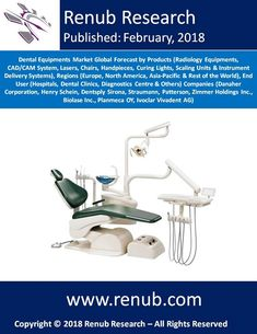 """Dental Equipments Market is projected to exceed US$ 11 Billion, experiencing a significant growth from 2018 to 2024. Renub Research report titled """"Dental Equipments Market Global Forecast by Products (Radiology Equipments, CAD/CAM System, Lasers, Chairs, Handpieces, Curing Lights, Scaling Units & Instrument Delivery Systems), Regions (Europe, North America, Asia-Pacific & Rest of the World), End User, Companies"""" provides a complete analysis of Global Dental Equipments Market."""