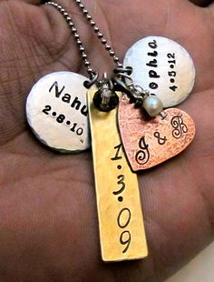 Need to have!!! Hand Stamped Personalized Necklace - Mixed Metal Cluster Necklace - Stamped Metal Jewelry - Mom Necklace Layered & Rustic. $32.00, via Etsy.   Must try!  #ecrafty @ecrafty #stampedmetalblanks #jewelrysupplies  #stampedmetaljewelry #necklacesupplies #ballchainnecklaces #jumprings #metalstampingblanks