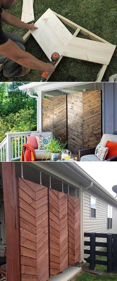 Hanging herringbone privacy screen will be sure to catch your guests eyes. #privacyscreen