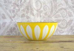 1960s Catherine Holm Large Yellow Lotus Leaf Enamel Bowl $78.40