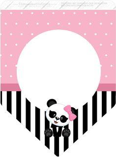 Bandeirinha Varalzinho 3 Panda Rosa totalmente grátis, pronto para personalizar e imprimir em casa. Panda Themed Party, Panda Birthday Party, Panda Party, Panda Bebe, Cute Panda, Panda Baby Showers, Panda Decorations, Nursery Patterns, Bear Theme