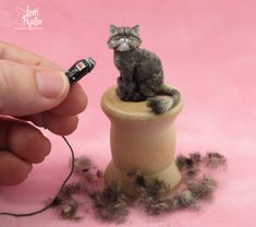 """Just a Trim"" Persian Cat sculpture.  A dollhouse miniature 1:12 sculpture made of BeeSputty polymer clay, paint & dressed in blended alpaca & wool fibers - by Kerri Pajutee"