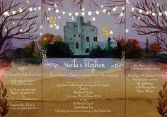 October wedding watercolour invitation