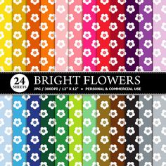 70% OFF SALE 24 Flowers Digital Scrapbook Paper, digital paper patterns for card making, invitations, scrapbooking