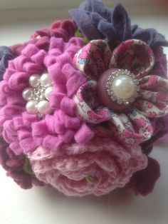 Fabric, felt and crochet flower posy