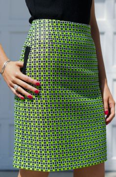 graphic lime tweed skirt