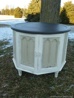 ASCP Old White, Graphite, and Country grey end table w/ cabinet