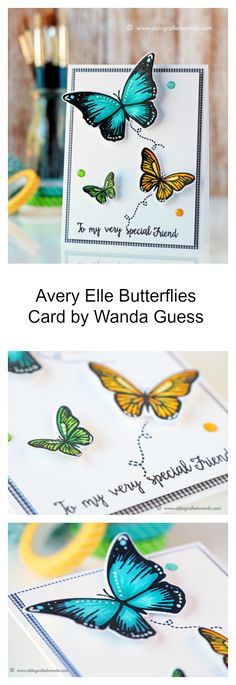 Avery Elle Butterflies stamps and dies. Card by Wanda Guess. Copic Markers and MISTI stamping. Accents with white gel pen.
