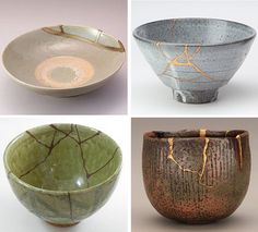 The art of Kintsugi is a practice in Japan where they mend cracked or broken ceramics with gold, rendering the piece even more beautiful than it started out. Description from pinterest.com. I searched for this on bing.com/images