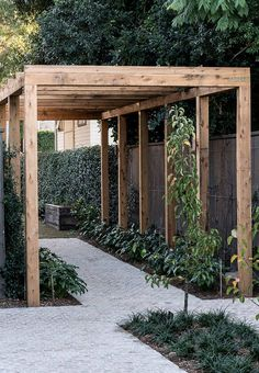 The wooden pergola is a good solution to add beauty to your garden. If you are not ready to spend thousands of dollars for building a cozy pergola then you may devise new strategies of trying out something different so that you can re Backyard Pergola, Pergola Shade, Pergola Plans, Backyard Landscaping, Outdoor Pergola, Pergola Kits, Backyard Landscape Design, Oasis Backyard, Modern Backyard Design