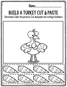 Printable Fine Motor Thanksgiving Preschool Worksheets Printable Fine Motor Thanksgiving Preschool Worksheets Build A Turkey Cut & Paste Drawing Activities, Art Therapy Activities, Kids Learning Activities, Autumn Activities, Preschool Worksheets, Vocabulary Activities, Preschool Printables, Preschool Themes, Thanksgiving Worksheets