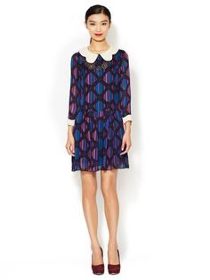 Peter Pan Collar Georgette Shift Dress by Anna Sui at Gilt