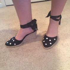 "Kate Spade wedges Absolutely adorable shoes! Wedges that are 3 1/2"" tall, a good height while still making the shoes comfortable. They feature an espadrilles style bottom, while the top is black with white polka dots. There is black ribbon that ties around the ankle which is so cute. Comes with box kate spade Shoes Wedges"