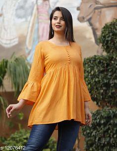 Tops & Tunics Charvi Orange Rayon Slub Solid Bell SleevesTop  Fabric: Rayon Slub Sleeve Length: Three-Quarter Sleeves Pattern: Solid Multipack: 1 Sizes: S (Bust Size: 36 in)  XL (Bust Size: 42 in)  L (Bust Size: 40 in)  M (Bust Size: 38 in)  XXL (Bust Size: 44 in)  Country of Origin: India Sizes Available: S, M, L, XL, XXL   Catalog Rating: ★4.2 (488)  Catalog Name: Urbane Glamorous Women Tops & Tunics CatalogID_2304590 C79-SC1020 Code: 303-12076412-117