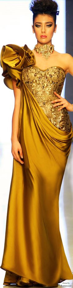 Gold Glamour Gowns: Fouad Sarkis Spring-Summer