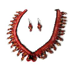 This is my Shes on Fire necklace and earrings set. I called it this because I used two sizes of Czech fire polished crystals and they are red and