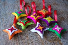 Colorful felt christmas ornaments  Set of eight by HetBovenhuis