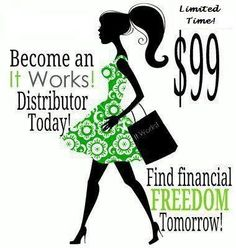 Only $99! You make your money back selling the box of wraps that comes in your kit! We also have some amazing christmas bonuses going on right now as well as the $10,000 G.O.O.D bonus! Call/Txt me for details or visit my website avengeyourbody.myitworks.com
