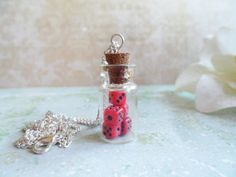 Silver glass bottle necklace with tiny dice inside, vintage inspired, Selma Dreams, red, white or yellow, message in a bottle, gifts by SelmaDreams on Etsy