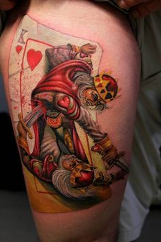 King of Hearts Fighting Tattoo, I normally don't like this style but this is interesting