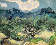 The Olive Trees, and The Olive Trees at Night, by Vincent van Gogh (1853–1890)