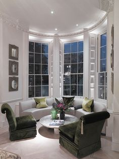 Stunning sitting area with terrific architectural details ~ Sofas by Louise Bradley
