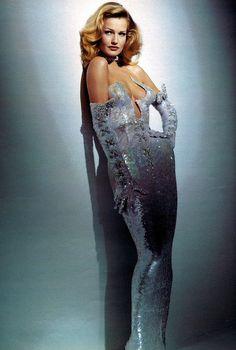 Thierry Mugler, so retro repro looks back to 40s showgirl styles silver dress gloves glam strapless column vintage fashion designer movie star
