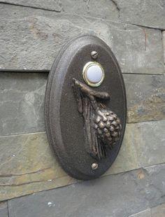 Arts and Crafts Doorbell Pine Cone Wired by Georgiegirlstudios