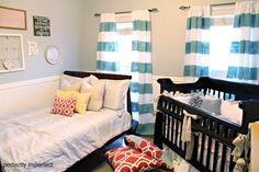 love this nursery! the drapes were $9.99 plain white panels and then the stripes were painted on. I'm SO doing that for drapes in our family room!