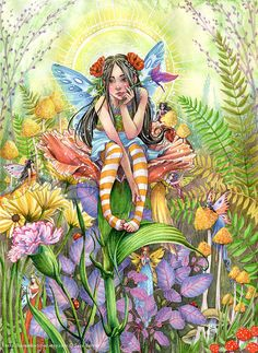 Fairy Art Print  Garden Fairies Playing Hide and by sarambutcher Fairy Myth Mythical Mystical Legend Elf Fairy Fae Wings Fantasy Elves Faries