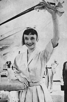 Audrey Hepburn aboard the Queen Elizabeth on her way to Europe to film Roman Holiday with Gregory Peck. June 4, 1952.