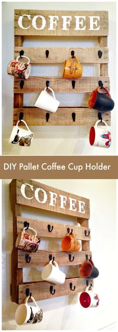 DIY Pallet Coffee Cup Holder - Pallet Furniture Ideas with 25 Complete DIY Projects - I Heart Crafty