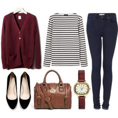 deep red cardigan, black and white striped long-sleeve shirt, dark skinny jeans, black ballet flats (or wedges or pumps), watch, leather bag (messenger bag would be nice)
