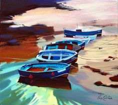 "Beached Boats 18""x18"" - Pam Carter"