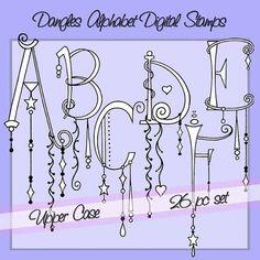 Baumelt Alphabet digitalen Stempel Großbuchstaben von atelieroz