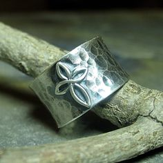 Cross ring sterling silver wide band hammered by LavenderCottage