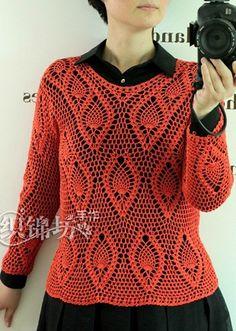 Красный пуловер крючком
